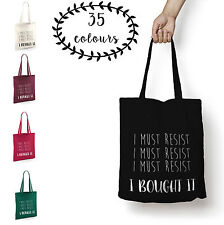 Tote Bag Shopper I Must Resist I Bought It Funny Gin Quote Shoulder Bag New