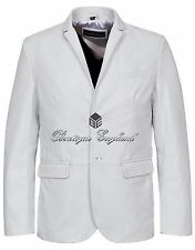 New Men's Stylish Milano 2 button Classic Blazer White 100 % Leather Jacket Coat