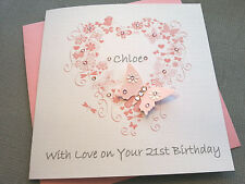BIRTHDAY CARD PERSONALISED HANDMADE MUM FRIEND AUNT DAUGHTER NIECE GIRL FEMALE