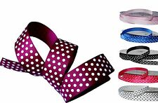 BUY 3 GET 1 FREE 25m Roll 10mm Spotty White Polka Dot Grosgrain Ribbon Colours