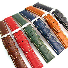 Super Padded Crocodile Grain Watch Band Contrast Stitched 6 Colours Free Pins