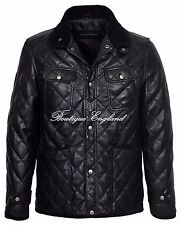 New 2396  Men's Quilted Black Biker Style Vintage Soft Nappa Real Leather Jacket