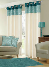 STYLISH FAUX SILK RINGTOP EYELET LINED METALLIC FLORAL TEAL & CREAM CURTAINS