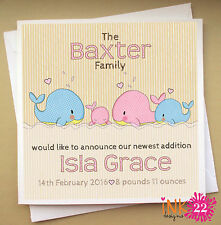 Personalised card pack. New Baby announcement cards,  Boy, Girl,  x 10,20,30,40
