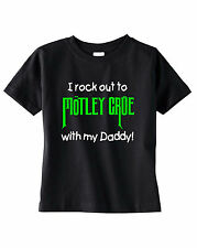 i rock out to MOTLEY CRUE with daddy baby toddler kids t-shirt tee shirt mommy