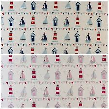 Fryetts Maritime 100% Cotton Curtain Upholstery Craft Fabric | 2 Colours