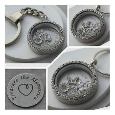 Treasure the Memories filled Memory locket necklace & Keyring - 30MM