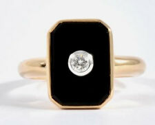 Genuine 9ct SOLID Gold Natural Onyx & Diamond MOURNING Ring in your size