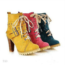 Hot Women's Ankle Punk Lace Buckle Boots Thick High Heel Shoes AU All Size TB824