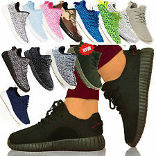 WOMENS GIRLS RUNNING YEEZY INSPIRED TEXTURED TRAINERS LACE UP FLATS SHOES SIZE