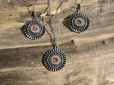 Egyptian-Look / Bullet Necklace & Earrings, BRASS 38's, Choice of Crystal S602