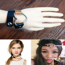 Punk Goth Heart Cross Choker Necklace Ring Harajuku Leather Neck Ring Hot Good