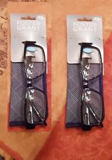 2 pairs Foster Grant Compact Wayfarer Reading Glasses with Spring Hinges & Cases