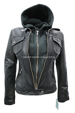 New Ladies Black Hooded Biker Style Motorcycle Soft Napa Italian Leather Jacket