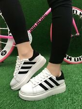 Womens Fashion Lace Up Athletic Sports Flat casual Running Preppy Sneakers Shoes