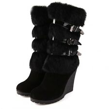 Suede Leather Rabbit Fur Trim Womens Wedge Heel Buckle Zip Mid Calf Snow Boots