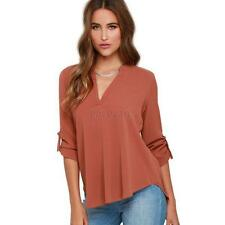 Spring New Style Women V-neck Long Sleeve Blouse Long Sleeve OL Shirt Tops E86