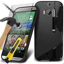 S-Line Slim Wave Gel Phone Case Cover+Glass Screen Protector for HTC