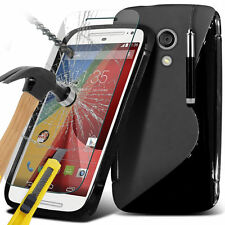 S-Line Slim Wave Gel Phone Case Cover+Glass Screen Protector for Motorola
