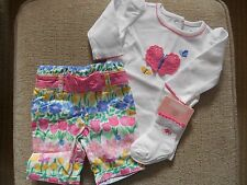 Gymboree NWT Baby Girl 0-3 Ruffled up LS Butterfly BS,crop pant & sock Outfit
