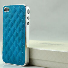 New Deluxe PU Leather Chrome Hard Back Case Cover for Apple iPhone 4 4S