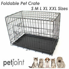 Pet Dog Cage Collapsible Metal Crate Kennel Portable Puppy Cat Rabbit House Mat