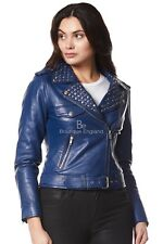 'ROCKSTAR' Ladies BLUE Studded Rock Chic Biker Motorcycle Style Leather Jacket