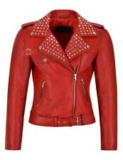 'ROCKSTAR' Ladies Red Studded Rock Chic Biker Motorcycle Style Leather Jacket