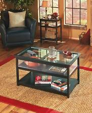 New Black Glass Lift Top Display End Table Coffee Table Livingroom Furniture