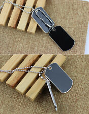 Stylish  Army Tactical Style Black 2 Dog Tags Chain  Men's Pendant Necklace