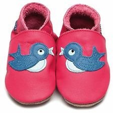 Inch Blue Girls Luxury Leather Soft Sole Baby Shoes - Bluebird Fuschia