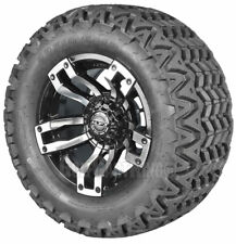 """(4)12"""" MJFX Velocity Machined/Black Wheel and Tire Combo for Golf Cart by Madjax"""