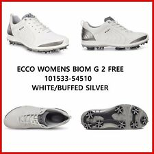 New Ecco Womens Golf Shoes BIOM G2 Free White Silver Spike EU 36 37 38 39 $250
