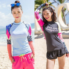 Women Long Sleeve Top Swim Shirt Surf Swimwear Surf Rash Guard Beach Board Shirt