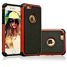 iPhone 5/5s & 6/6s & 6/6s Plus Shockproof Tough Armor Dual Layer Red Case Cover