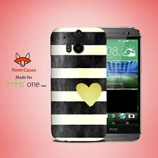 Black White Stripes Pattern Watercolor Case Cover for HTC