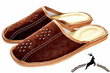 Mens Genuine Suede Leather Slippers Sandal Shoes Scuff Handmade Free Shipping