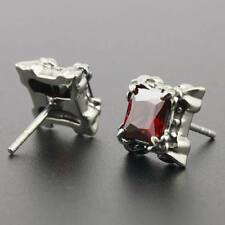 Red CZ Stone 316L Stainless Steel Fashion Biker Stud Earring G009D