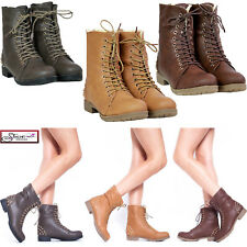 NEW WOMENS Flats Studded MILITARY combat shoes LACE UP worker winter ANKLE BOOTS
