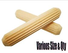 HARDWOOD DOWELS FLUTED GROOVED 6mm 8mm 10mm CHOOSE SIZE & QTY REQUIRED