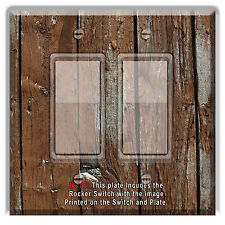 Light Switch Plate Cover Rustic Image Of Brown Wood  w/Rocker Switch or Outlet