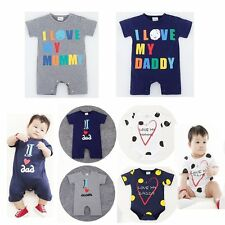 Baby Toddler Boy Girl I LOVE MOM/ DAD Outfit Romper One Piece Suit Clothes 6-24M