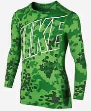 NEW Nike Boy's Youth Pro Combat Compression Hyperwarm LS Shirt Green Camo S M L