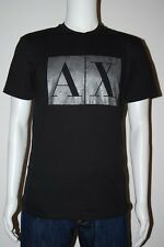 New Armani Exchange Mens Muscle AX Logo Slim Fit  Tee T-Shirt In Black Size S-L