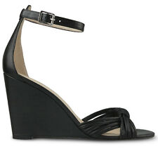 Wittner Ladies Shoes Black Leather Wedges