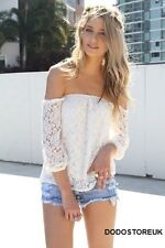 Sexy Fashion Lace Top Women 3/4 Sleeve Shirt Ladies Summer Blouse