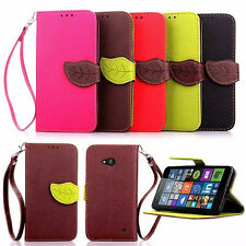 Leaf Magnetic Wristlet Flip Wallet Card Stand PU Leather Case For Samsung Phones