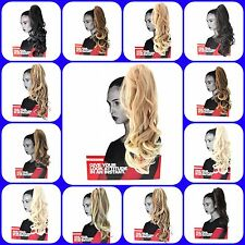 Ponytail Hair Piece Extension Long Curly to Wavy Reverse Claw Clip & Drawstring