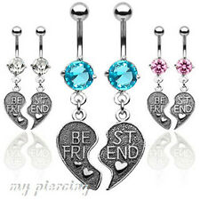 "Pair of ""Best Friend"" Heart Dangle 316L Surgical Steel Belly Ring -14GA~3/8"""