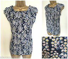 BNWT K&D LONDON NAVY BLUE WHITE PINK DITSY FLORAL FLOATY TOP SIZE 8 - 20